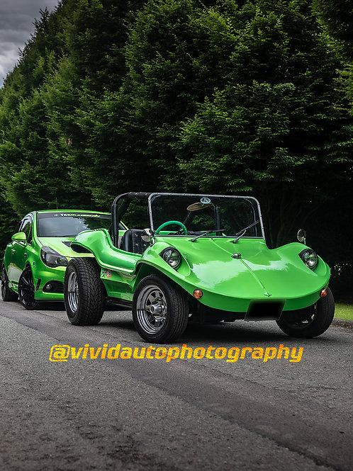 Manta Ray and Vauxhall Corsa VXR Nurburgring Edition front three quarters poster