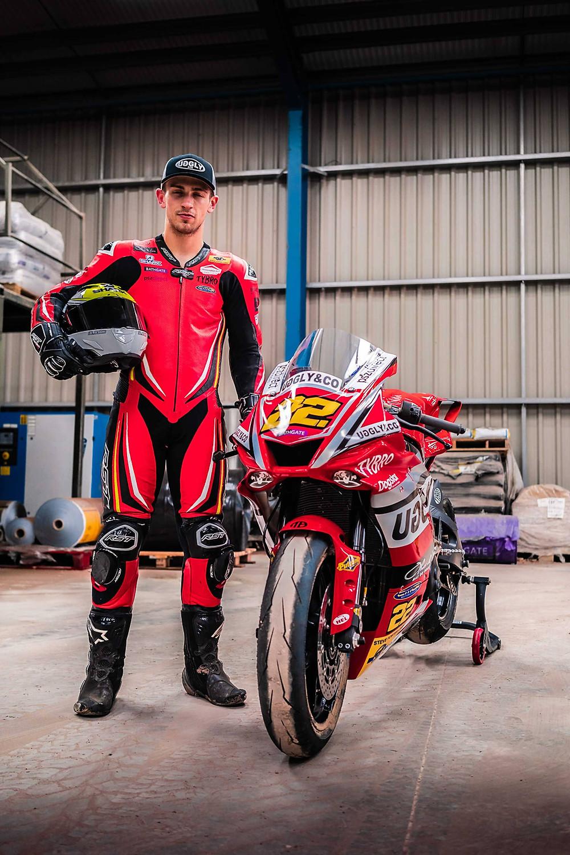 Zak with Yamaha R1 | Front three quarter poster