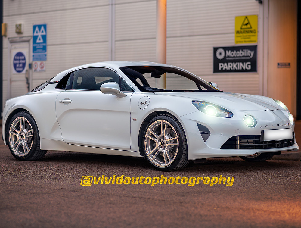 Alpine A110 front three quarters Evening