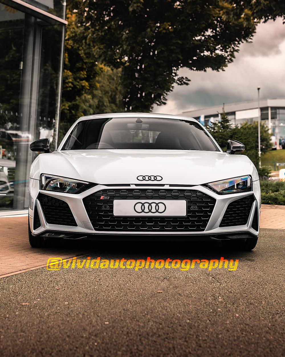 Audi R8 V10 Performance White   Front Poster   Audi Stoke