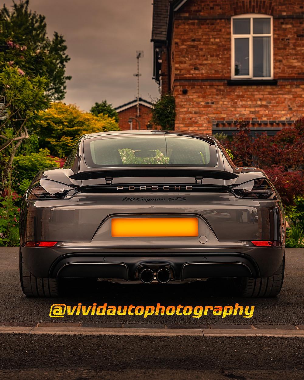 Porsche 718 Cayman GTS rear poster | Agate Grey