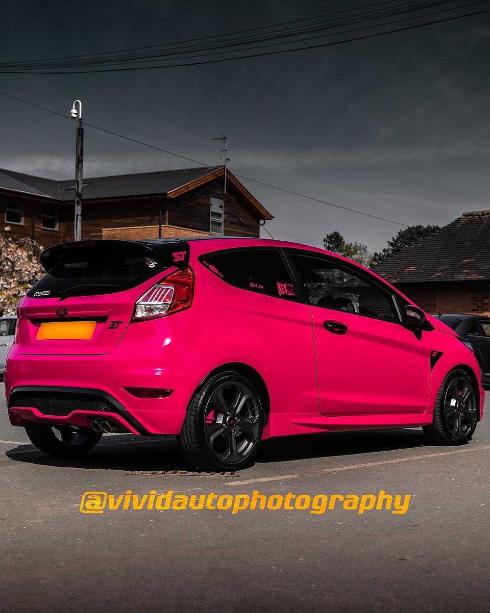 Ford Fiesta ST | Hot Pink | Rear three quarter poster