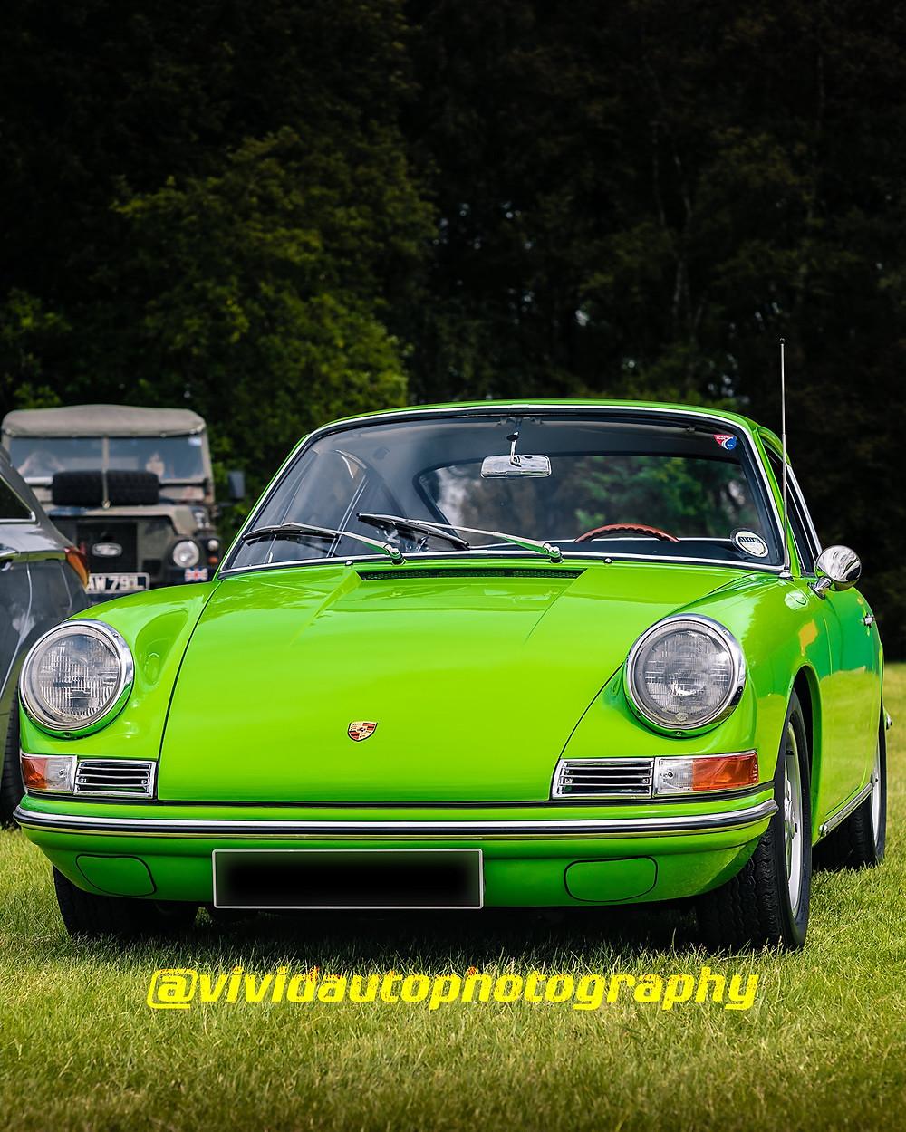 Porsche 912 | Lime Green | Front three quarter poster
