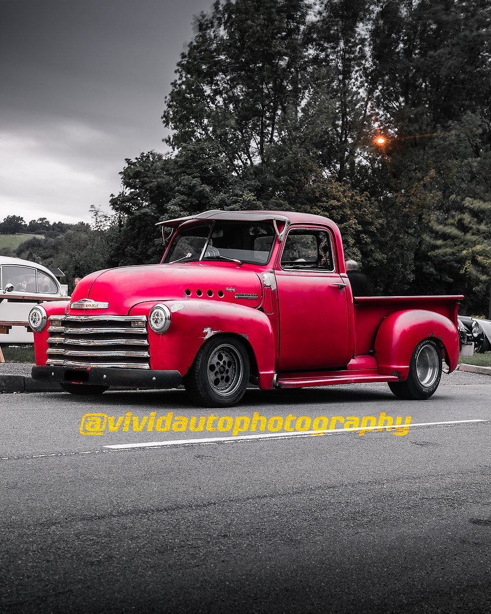 Chevrolet 3100 Red | Front three quarters poster | George and Dragon Stone