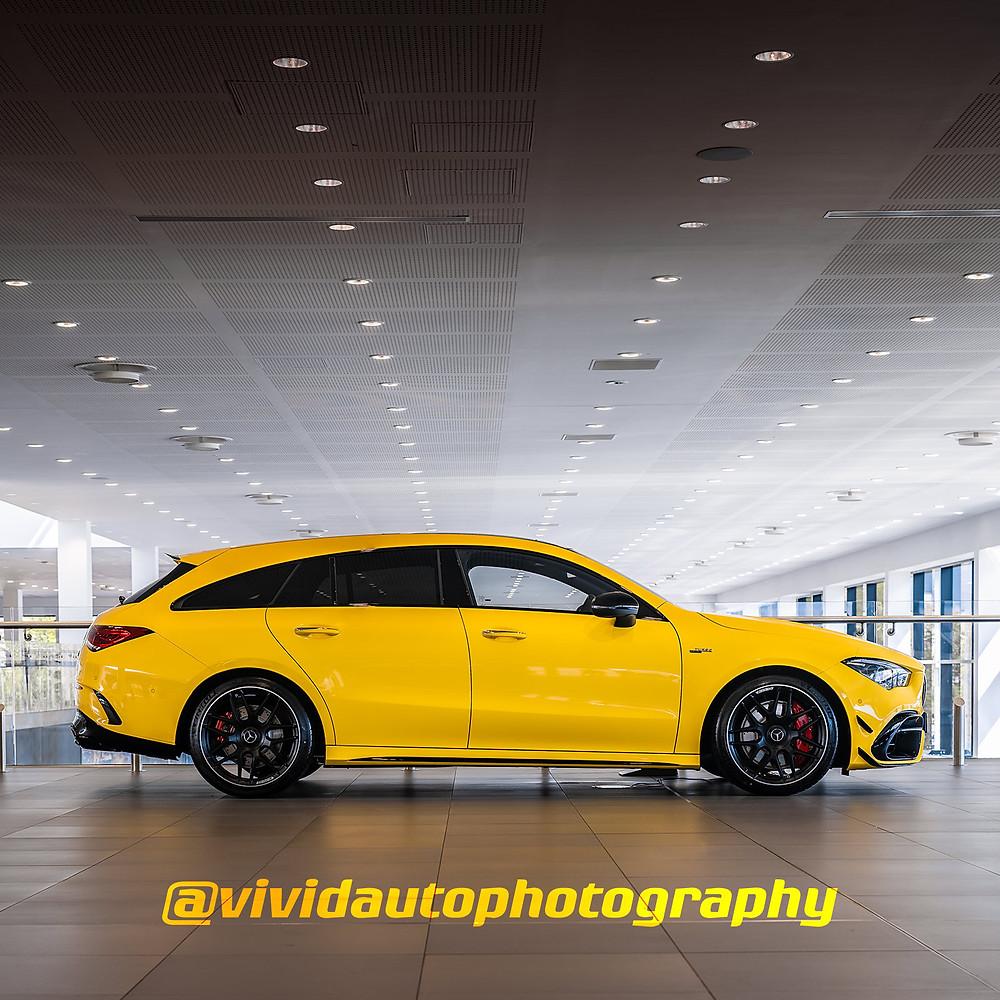 Mercedes AMG CLA45S Shooting Brake | Side Profile | Solar Yellow