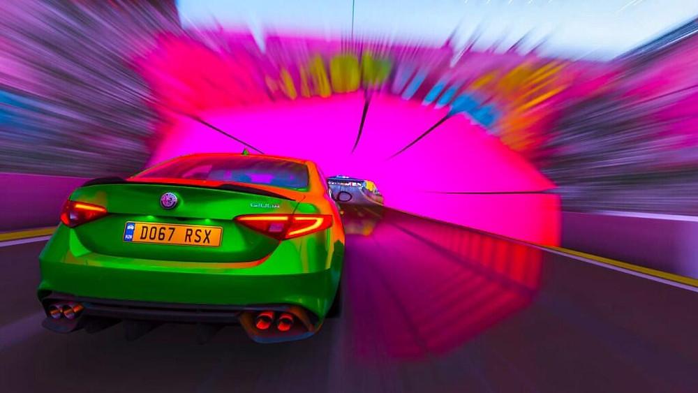 Alfa Romeo Giulia Quadrifoglio | Rear three quarter rolling shot | Forza Horizon 4