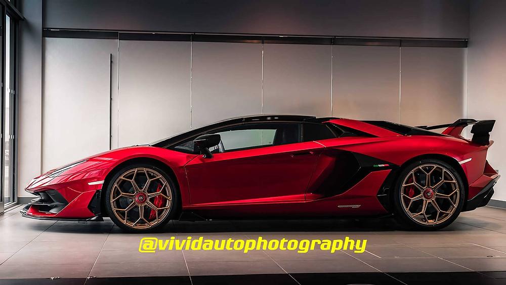 Lamborghini Aventador SV J Roadster | Side profile | Rosso Efesto