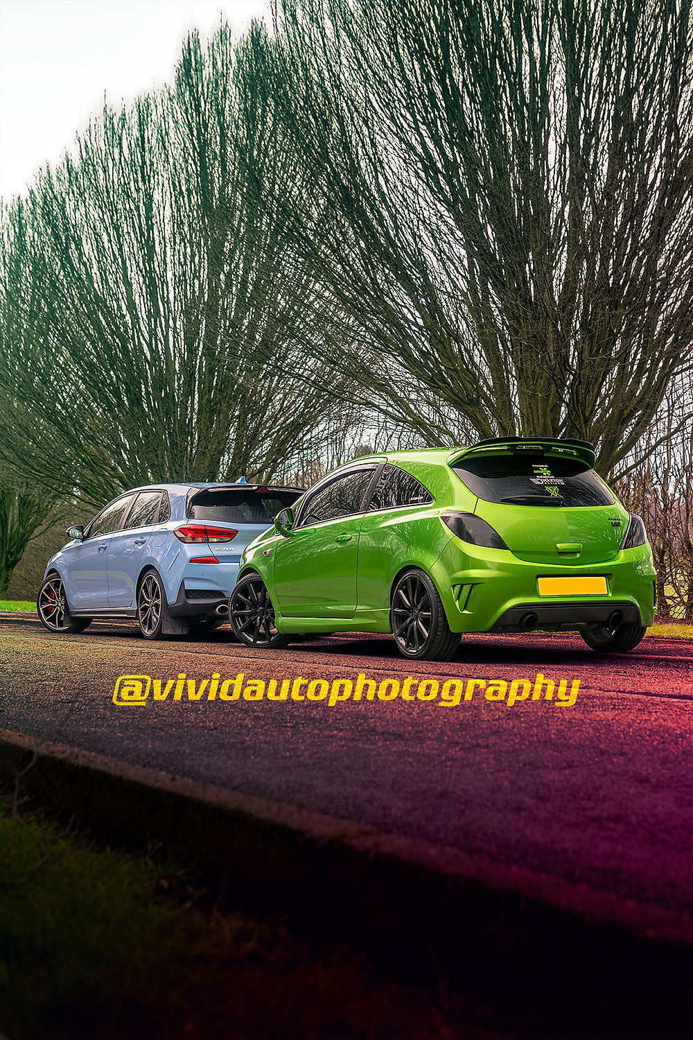 Vauxhall Corsa VXR Nuburgring Edition and Hyundai i30N Performance rear three quarters Crewe Hall