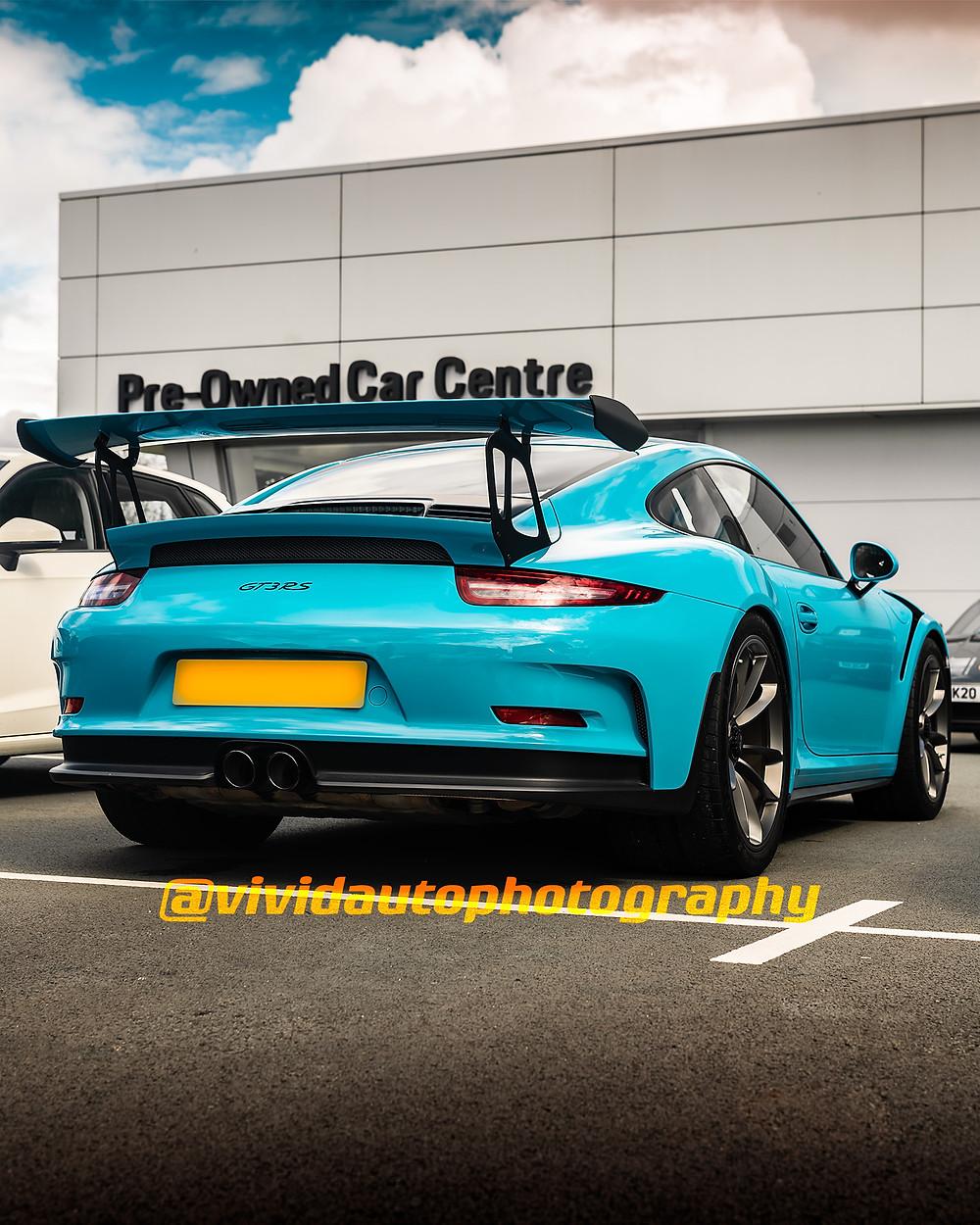 Porsche 911 GT3 RS | Miami Blue | Rear three quarters poster
