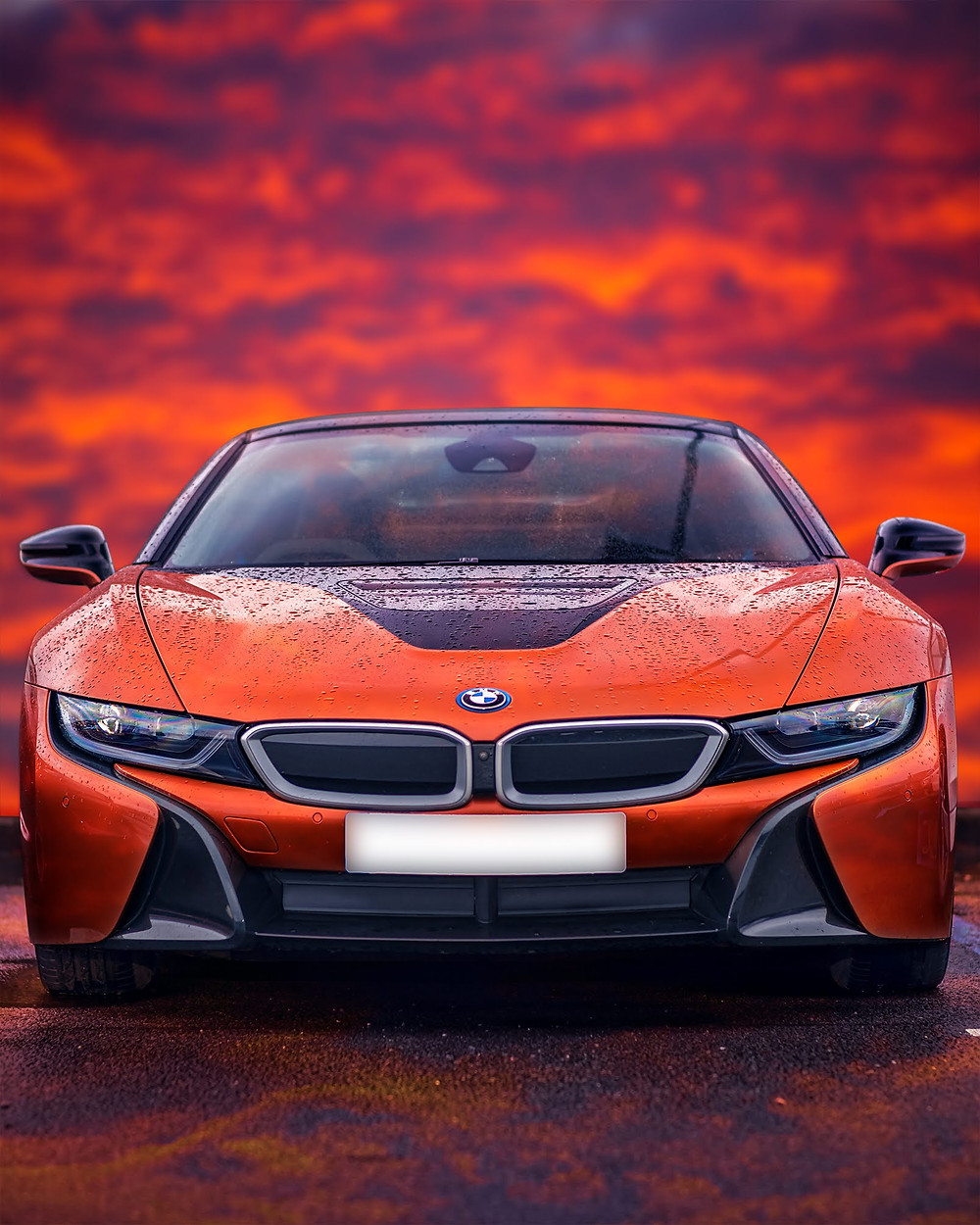 BMW i8 Roadster front face poster