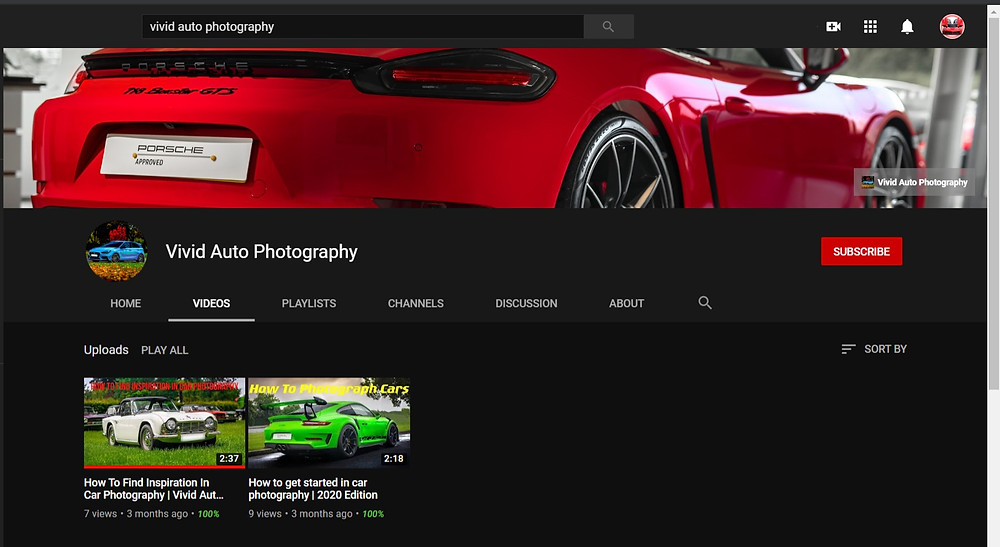 Vivid Auto Photography (YouTube) channel