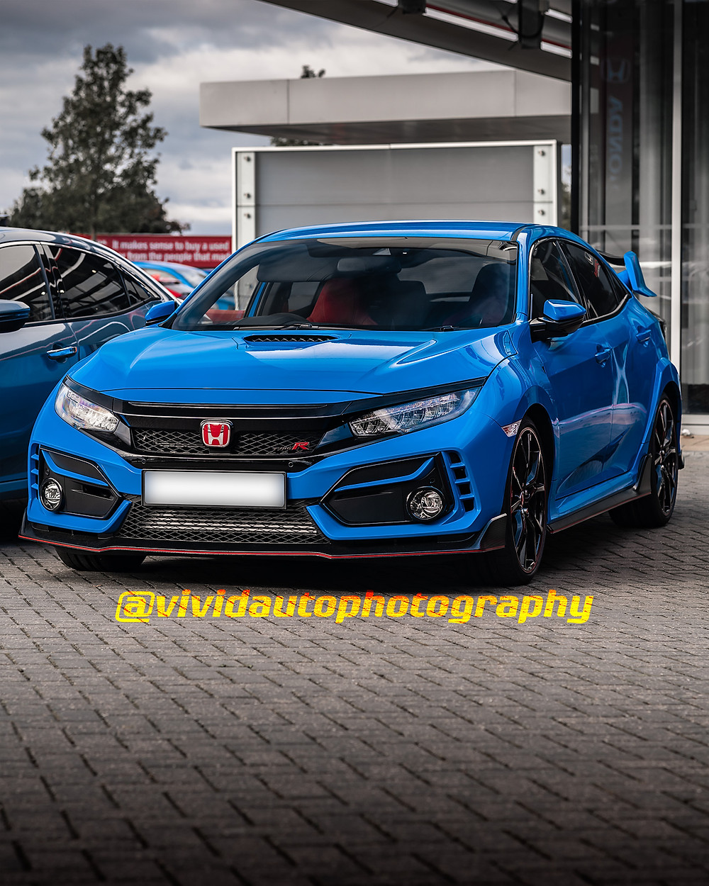 Honda Civic Type R | Boost Blue | Front three quarters poster