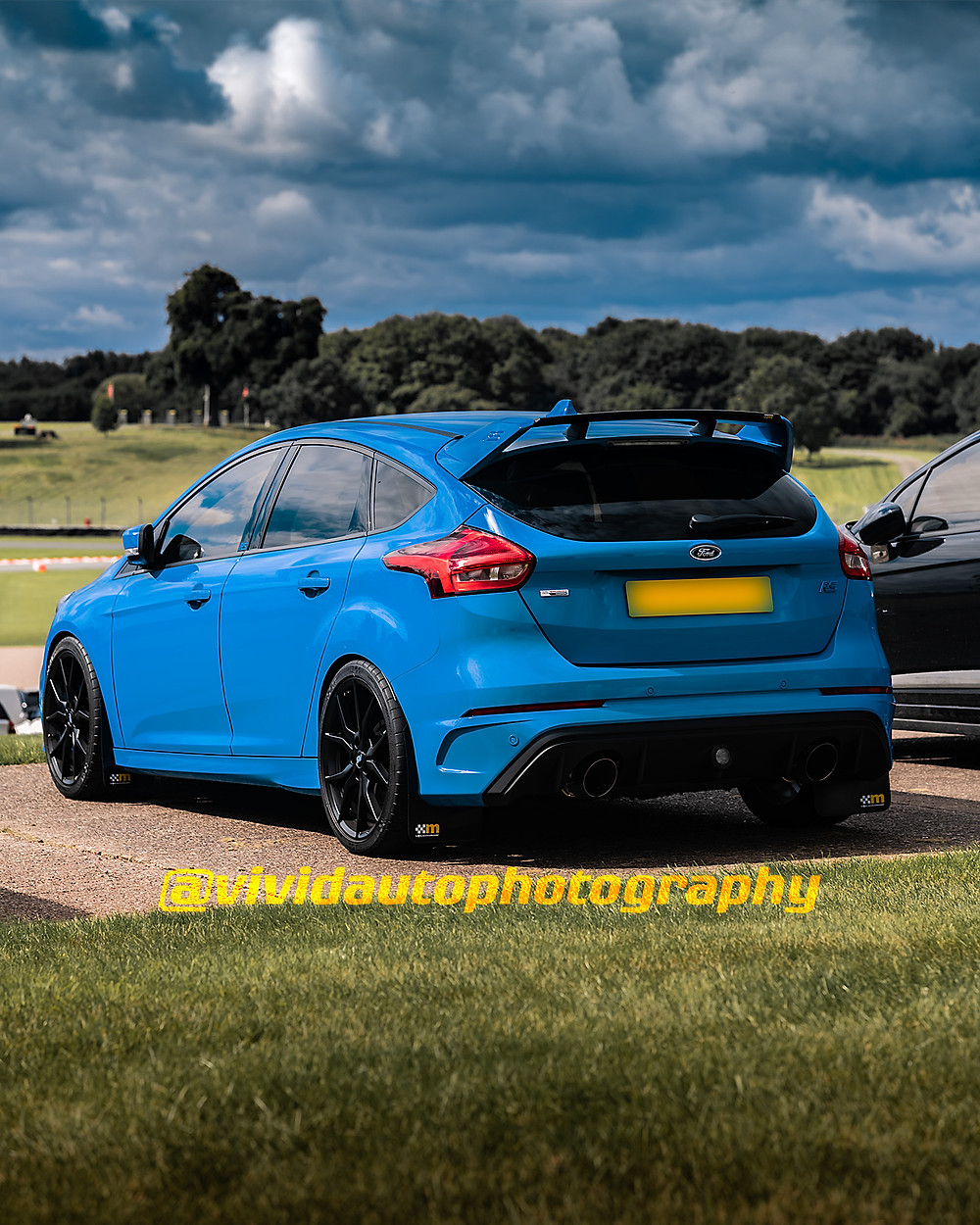 Ford Focus RS MK3 Petrol Blue | Rear three quarters poster | Oulton Park