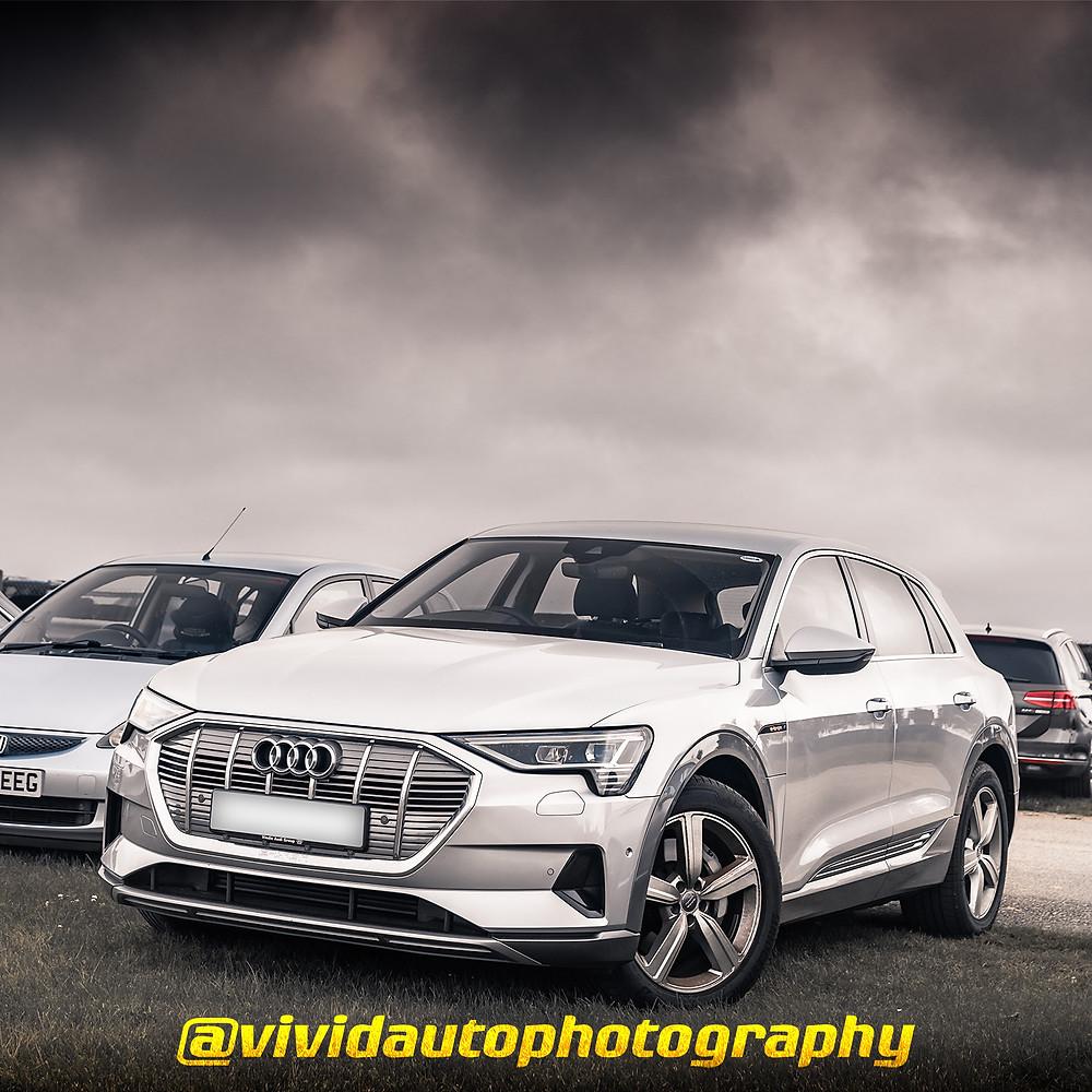 Audi E-Tron | Ice Silver | Front three quarter poster