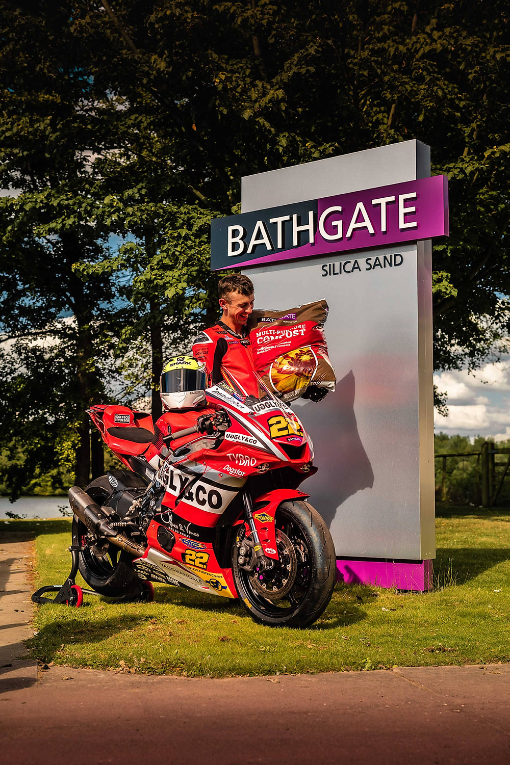 Zak with Yamaha R1 | Bathgate Compost | Front three quarter poster