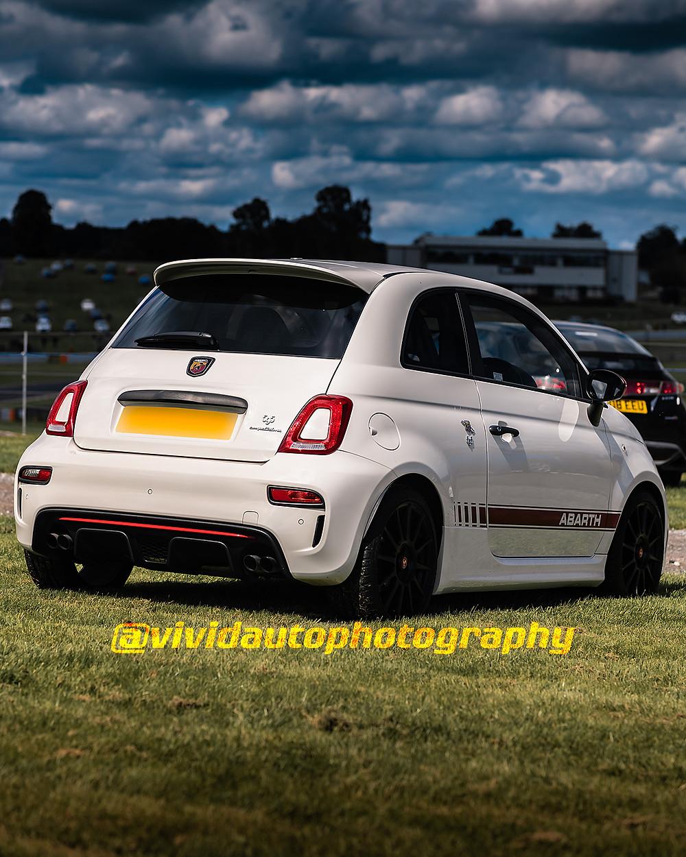 Abarth 595 Competizione Petrol White   Rear three quarters poster   Oulton Park