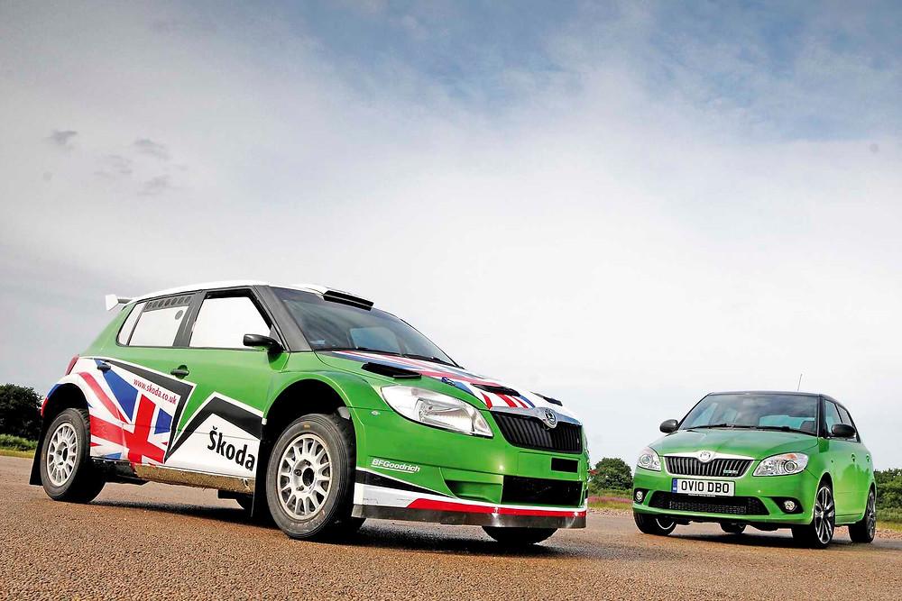 Skoda Fabia VRS IRC Rally car with Road-Going Fabia VRS | Front three quarter