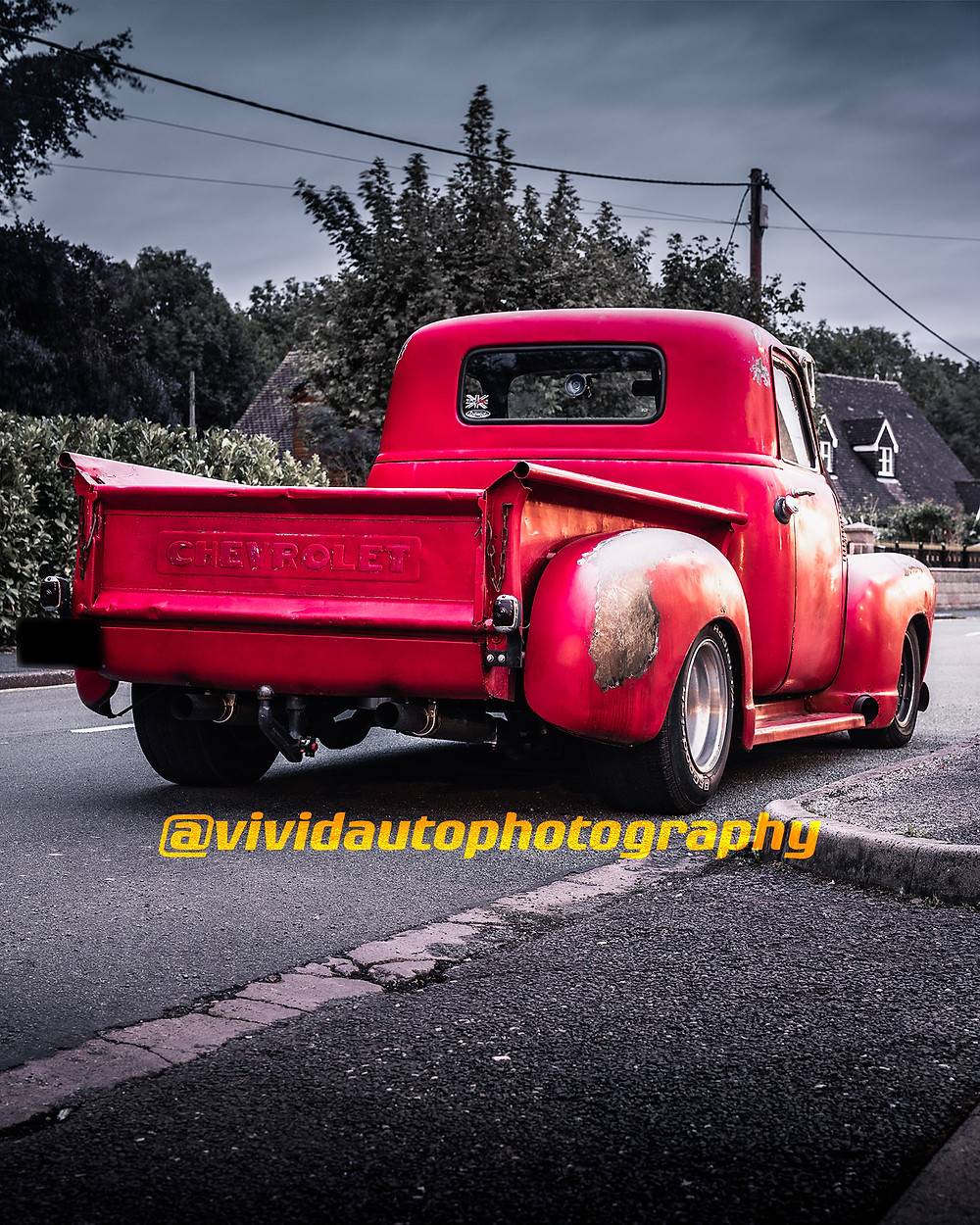Chevrolet 3100 | Red | Rear three quarters poster