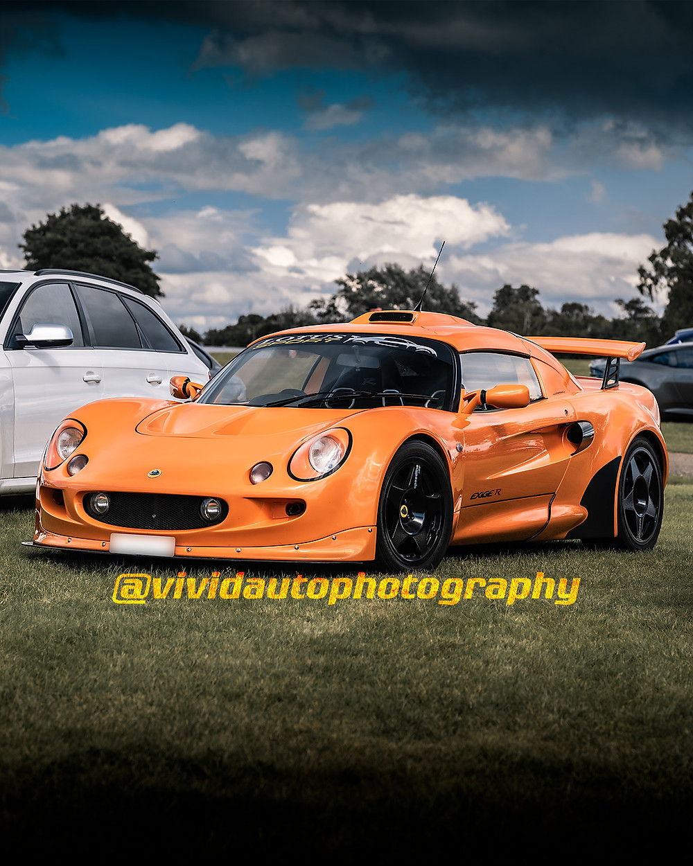 Lotus Exige R Chrome Orange   Front three quarters poster   Oulton Park
