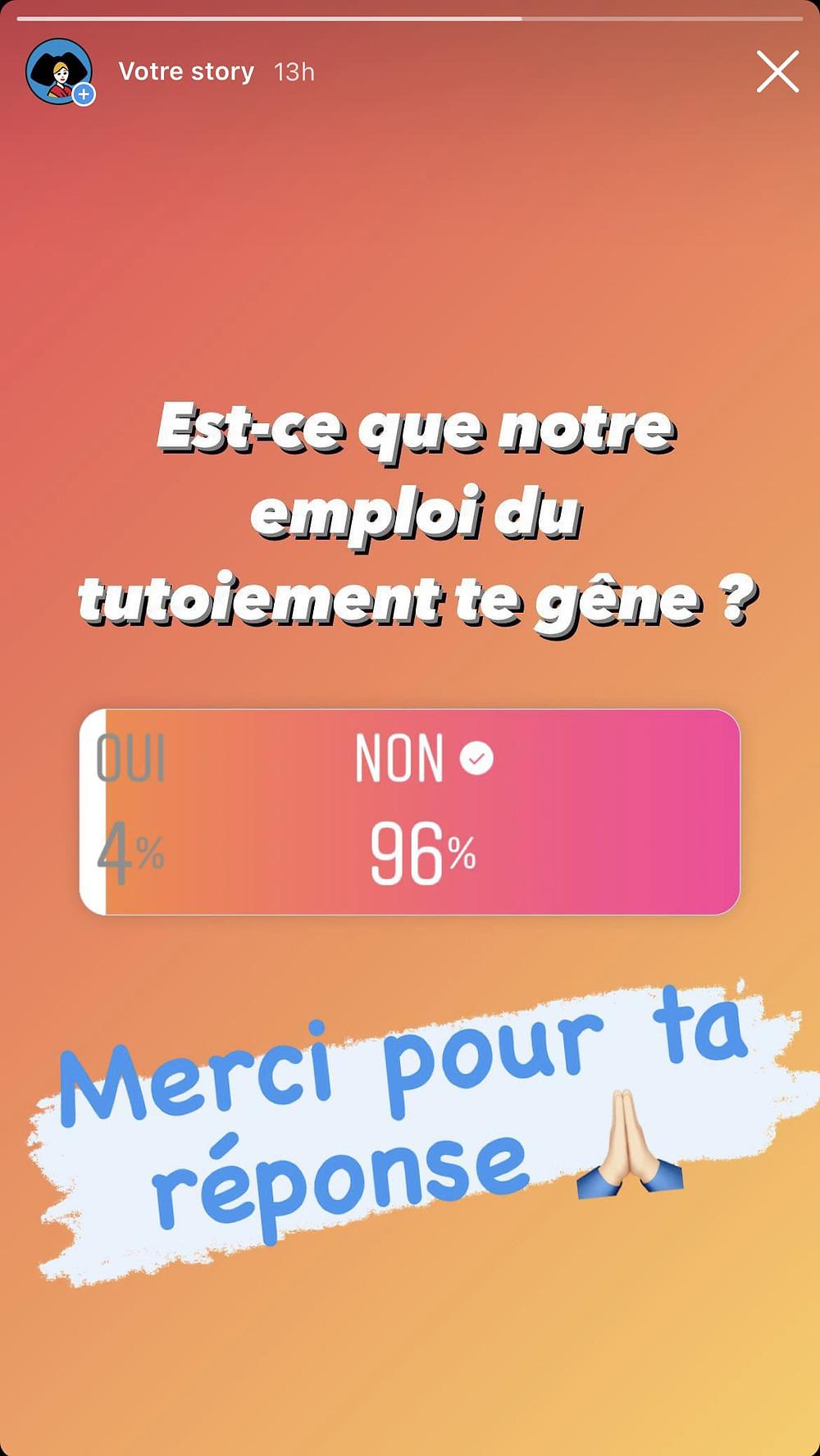 Image montrant le résultat d'un sondage sur le tutoiement dispensé par Tempé sur sa page Instagram. 96% des personnes interrogées ont répondu ne pas être gêné par le tutoiement.