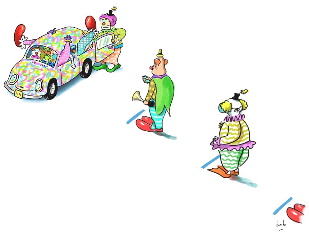 social distancing clown car cartoon by Bob Eckstein