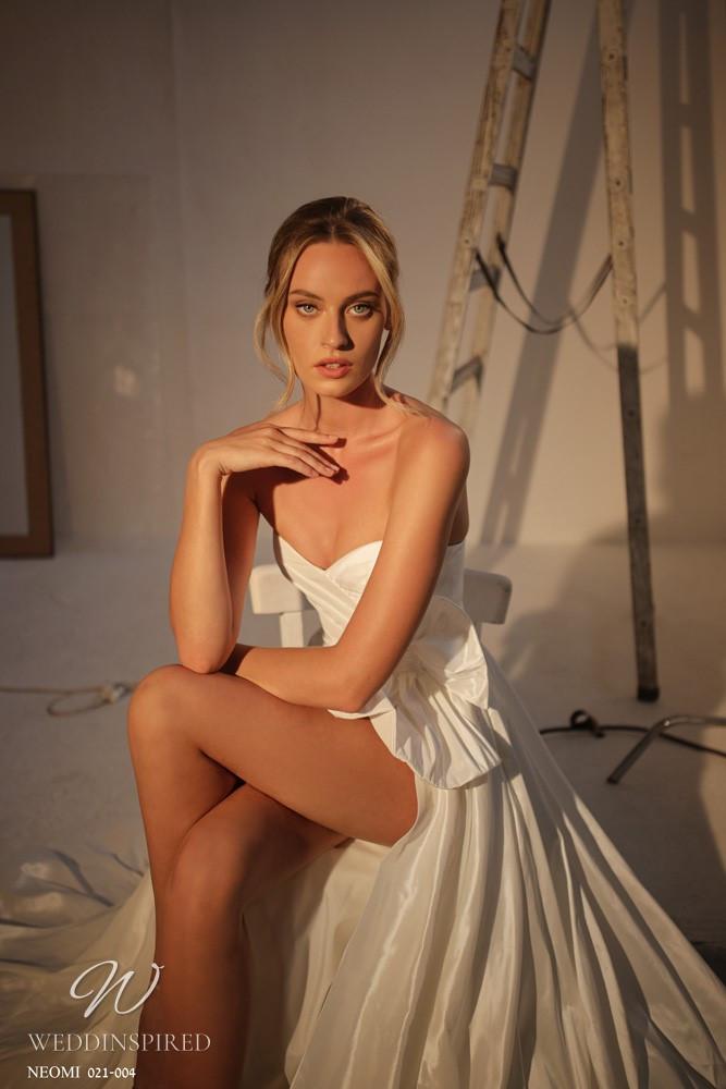 A Gali Karten 2021 strapless satin A-line wedding dress