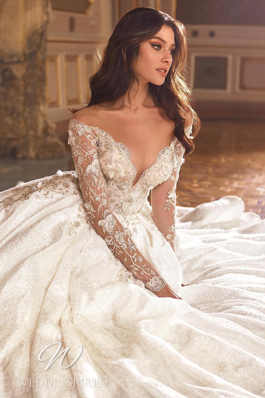 A Ricca Sposa 2022 off the shoulder lace princess wedding dress