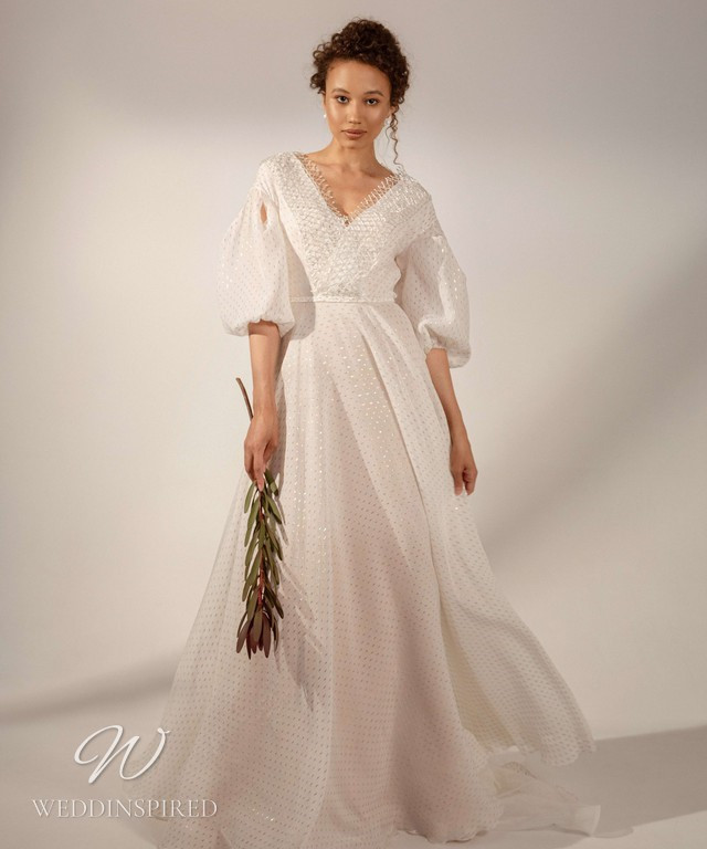 A Rara Avis 2021 soft, flowy chiffon A-line wedding dress with long balloon sleeves