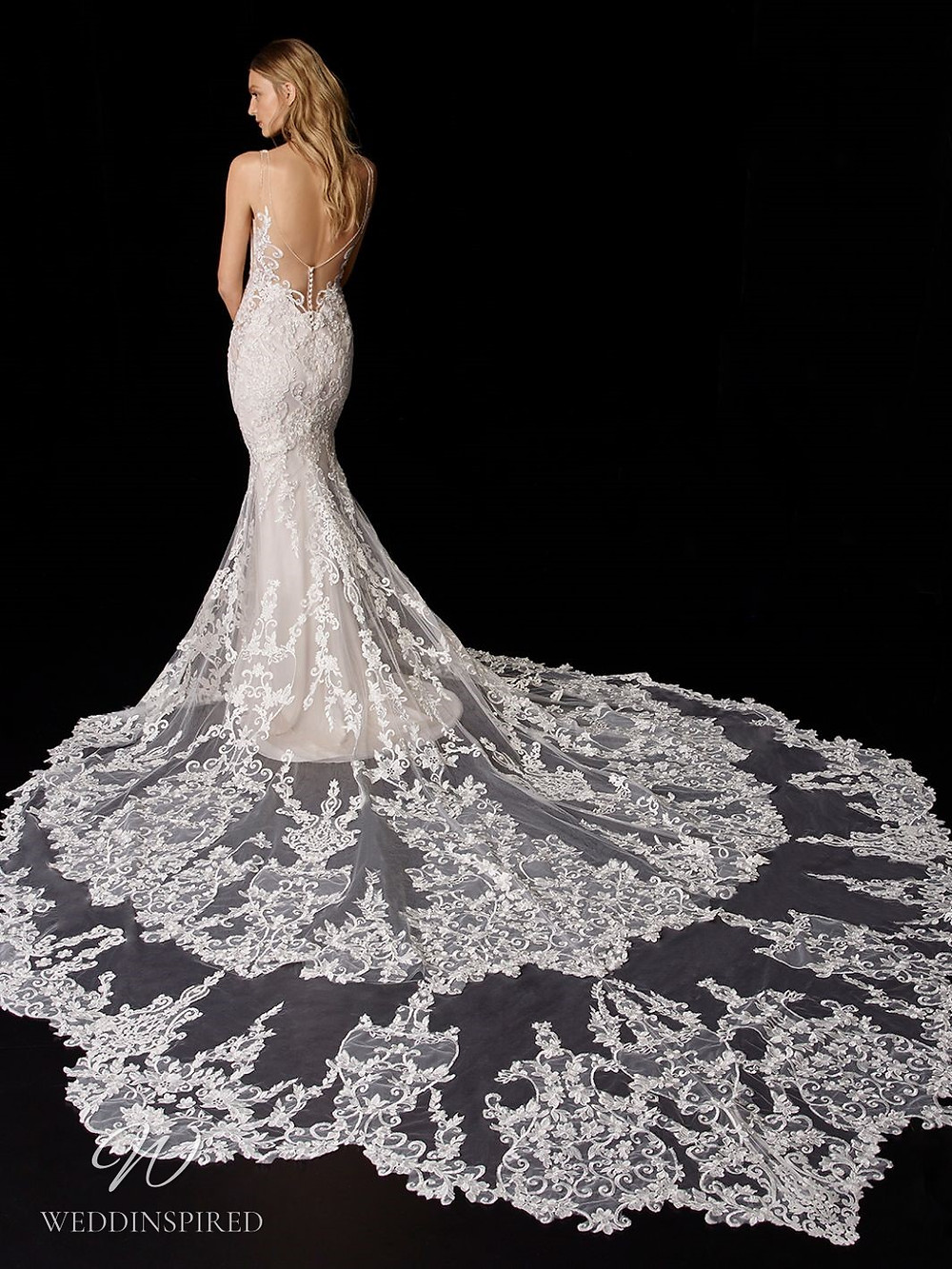 An Enzoani lace mermaid wedding dress with a low back and a long lace illusion train