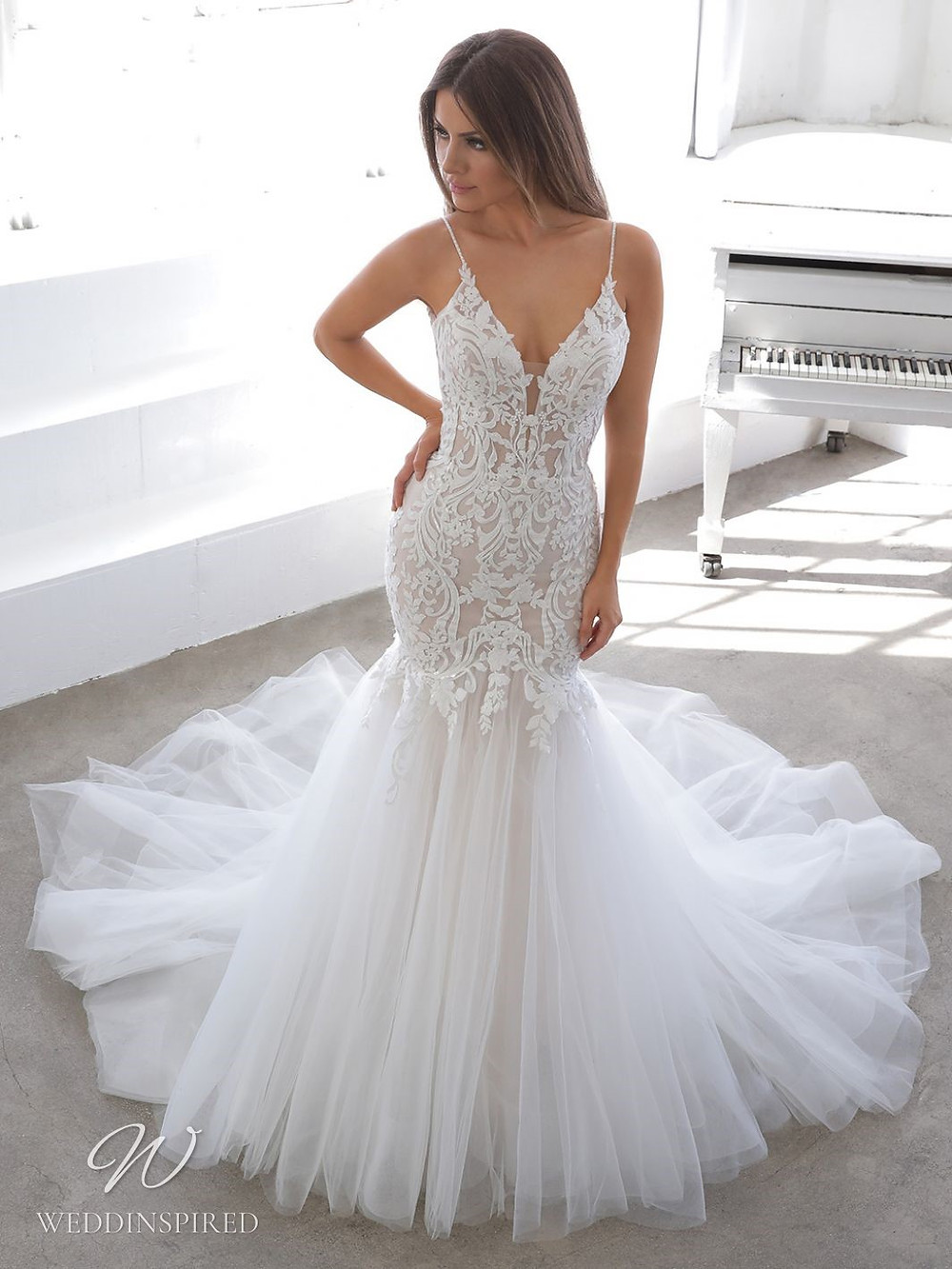 A Blue by Enzoani 2021 lace and tulle mermaid wedding dress with straps