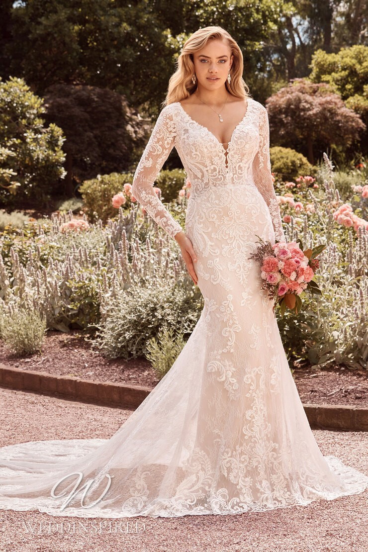 A Sophia Tolli 2021 lace mermaid wedding dress with long sleeves