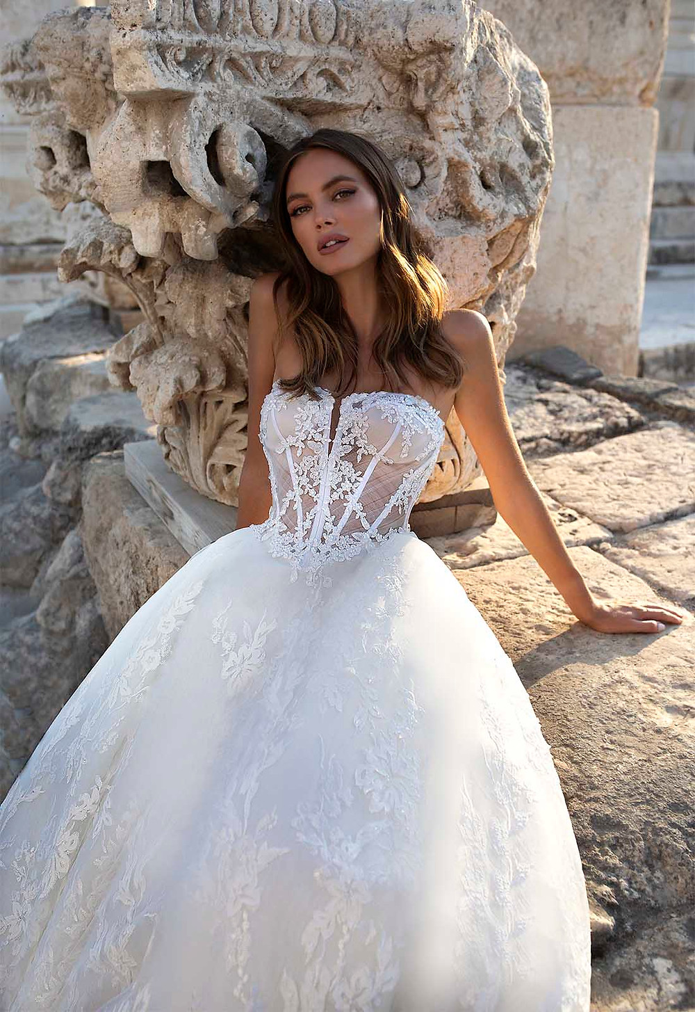 A Pnina Tornai strapless lace and tulle ball gown wedding dress