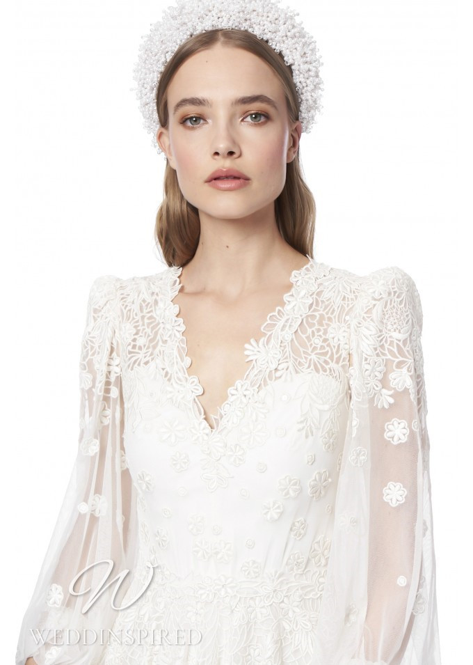 A Jenny Packham 2021 tulle A-line wedding dress with long sleeves