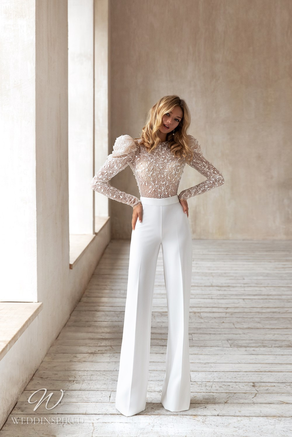 An Eva Lendel 2021 crepe and mesh wedding jumpsuit / pantsuit with long sleeves and beading