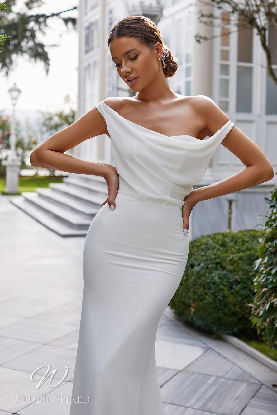 A Milla Nova 2021 simple satin and chiffon off the shoulder mermaid wedding dress