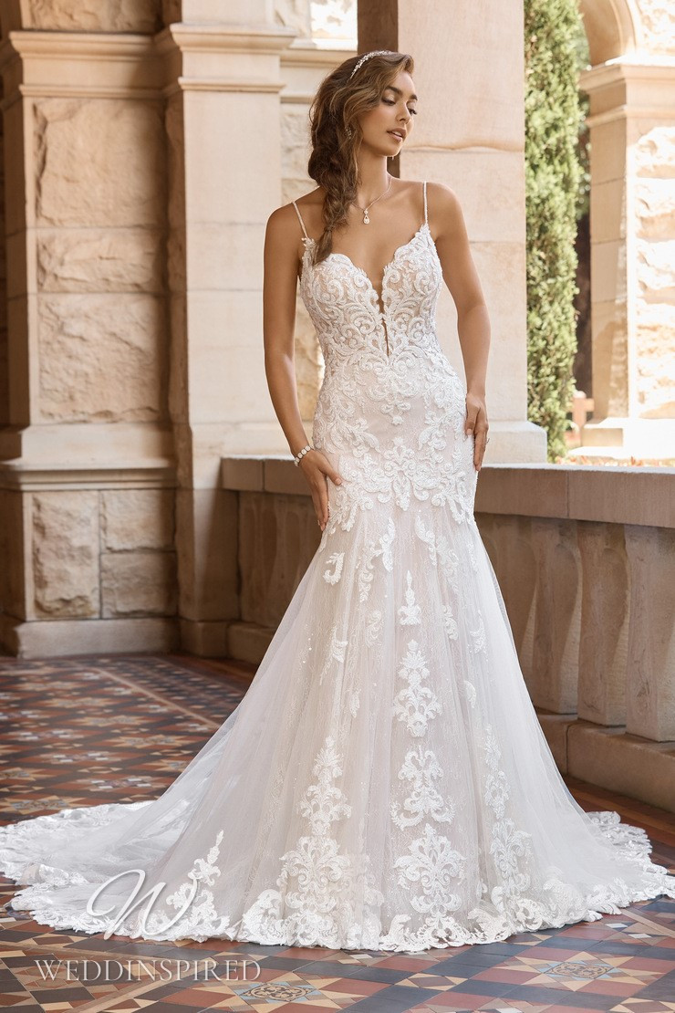 A Sophia Tolli 2021 lace and tulle mermaid wedding dress