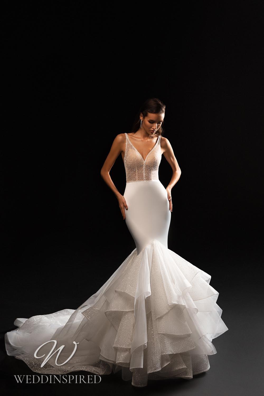 A WONÁ Concept 2021 sparkly mermaid wedding dress with a ruffle skirt