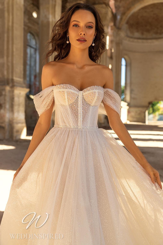 An Eva Lendel 2021 tulle off the shoulder A-line wedding dress