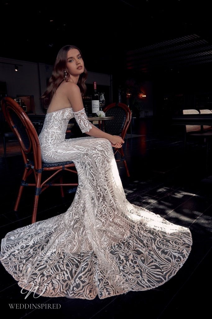 A Julie Vino 2021 off the shoulder lace mermaid wedding dress with a sweetheart neckline