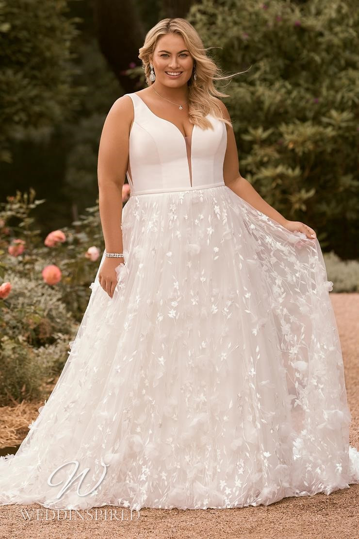A Sophia Tolli 2021 plus size tulle and satin A-line wedding dress