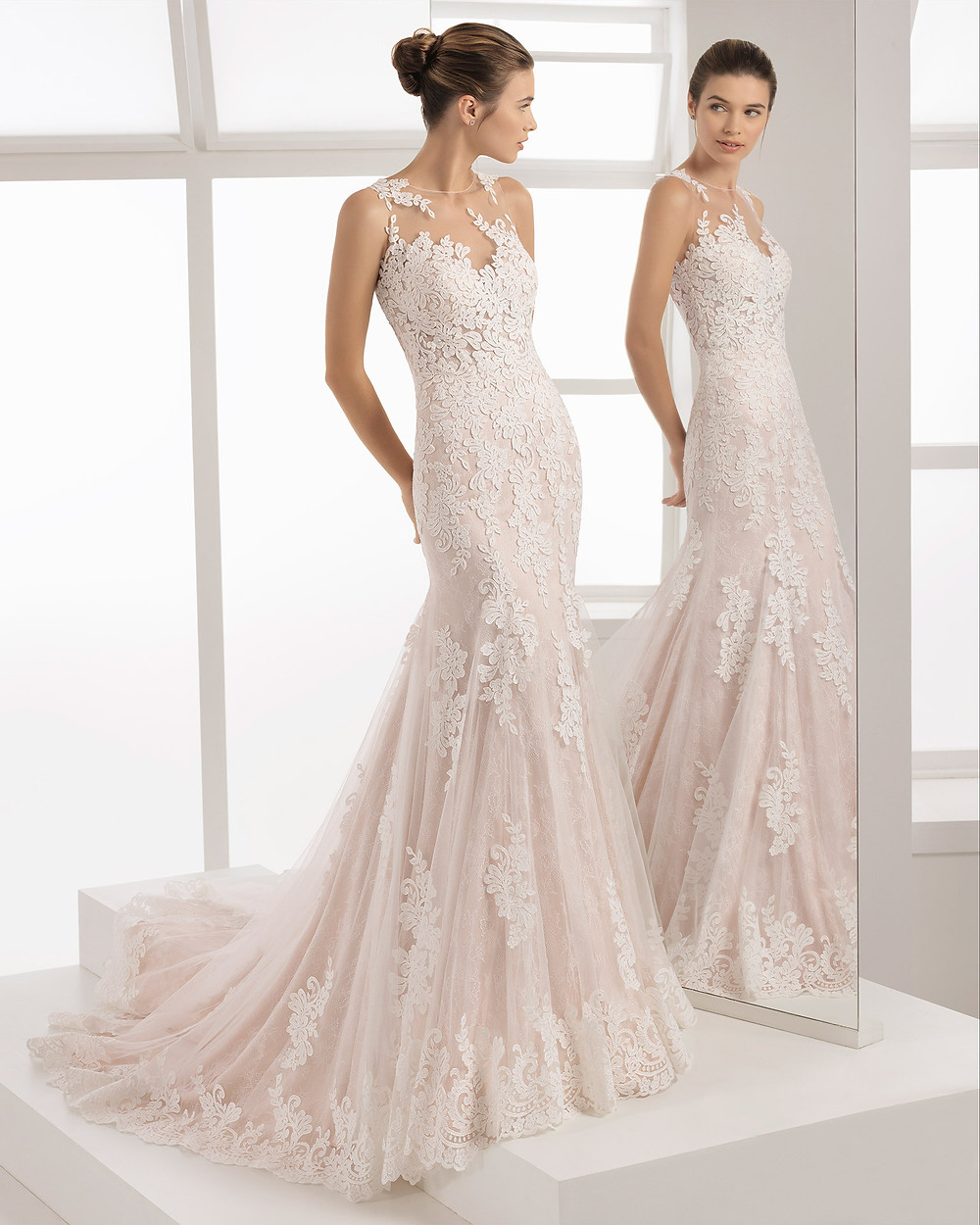 An Aire Barcelona 2020 romantic blush lace mermaid wedding dress
