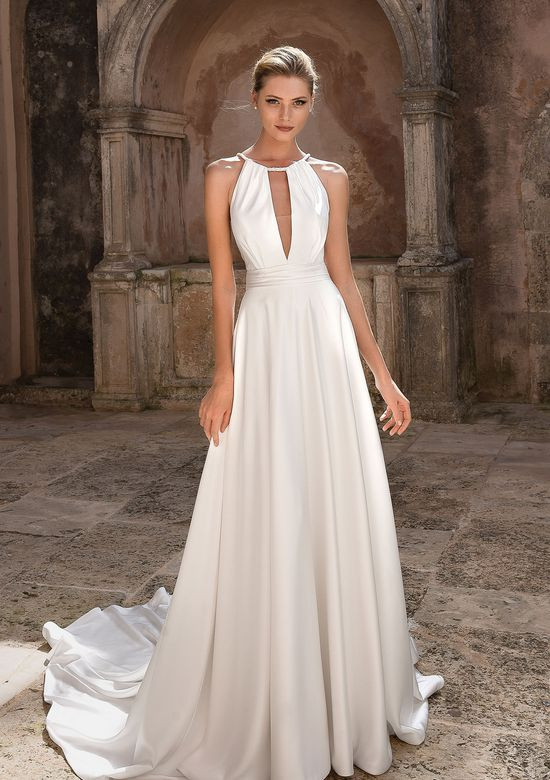 A Justin Alexander simple halterneck A-line wedding dress
