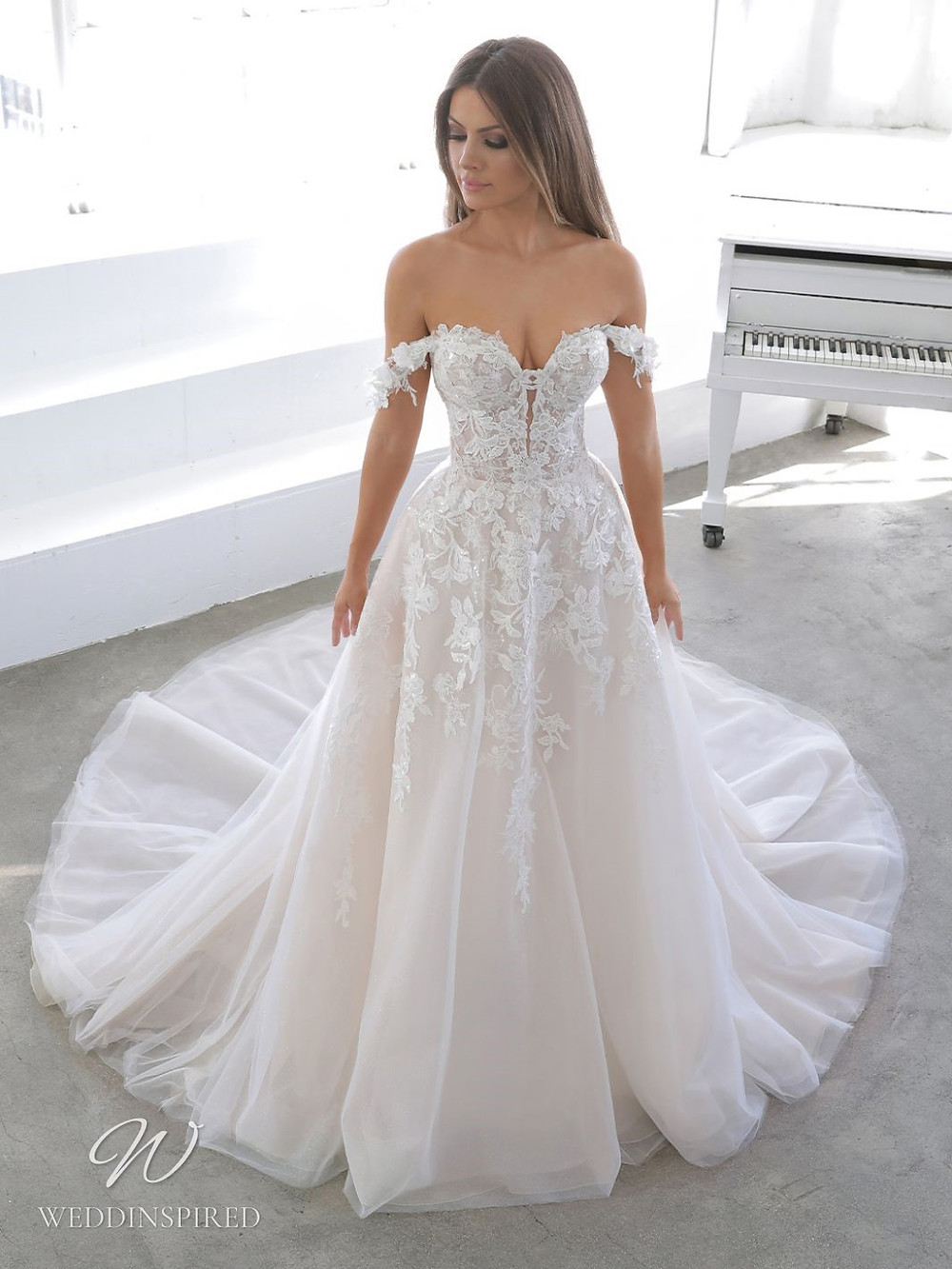 A Blue by Enzoani 2021 off the shoulder lace and tulle A-line wedding dress