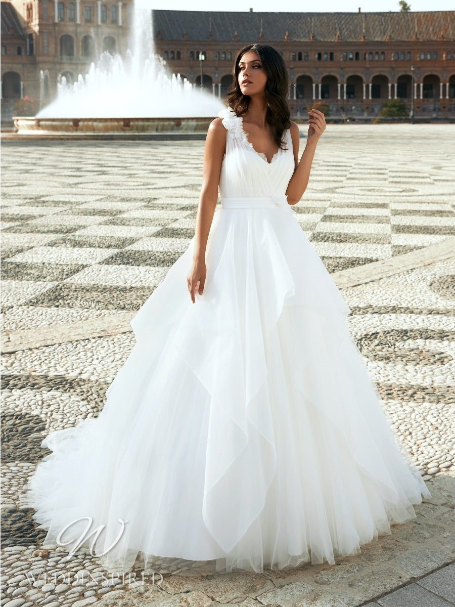 A Marchesa for Pronovias 2022 tulle princess ball gown wedding dress with straps