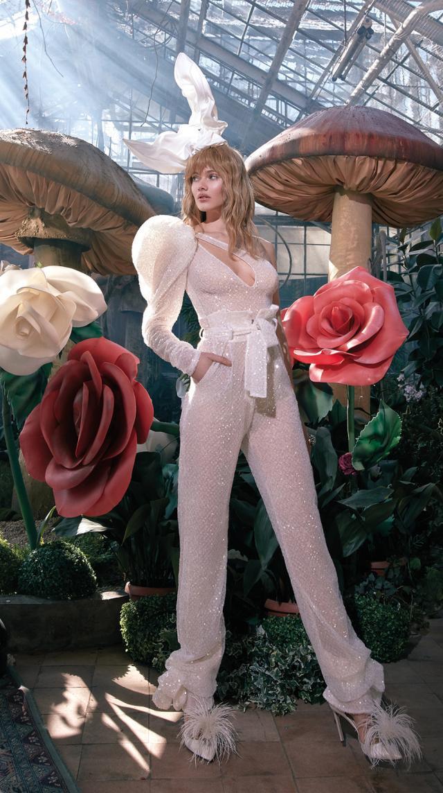 A Galia Lahav sparkly one shoulder wedding jumpsuit or pantsuit