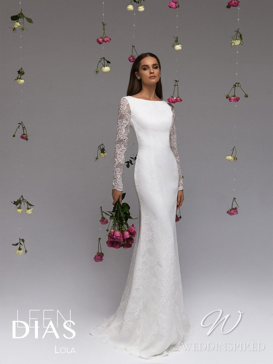 A Leen Dias 2021 simple modest lace mermaid wedding dress with long sleeves