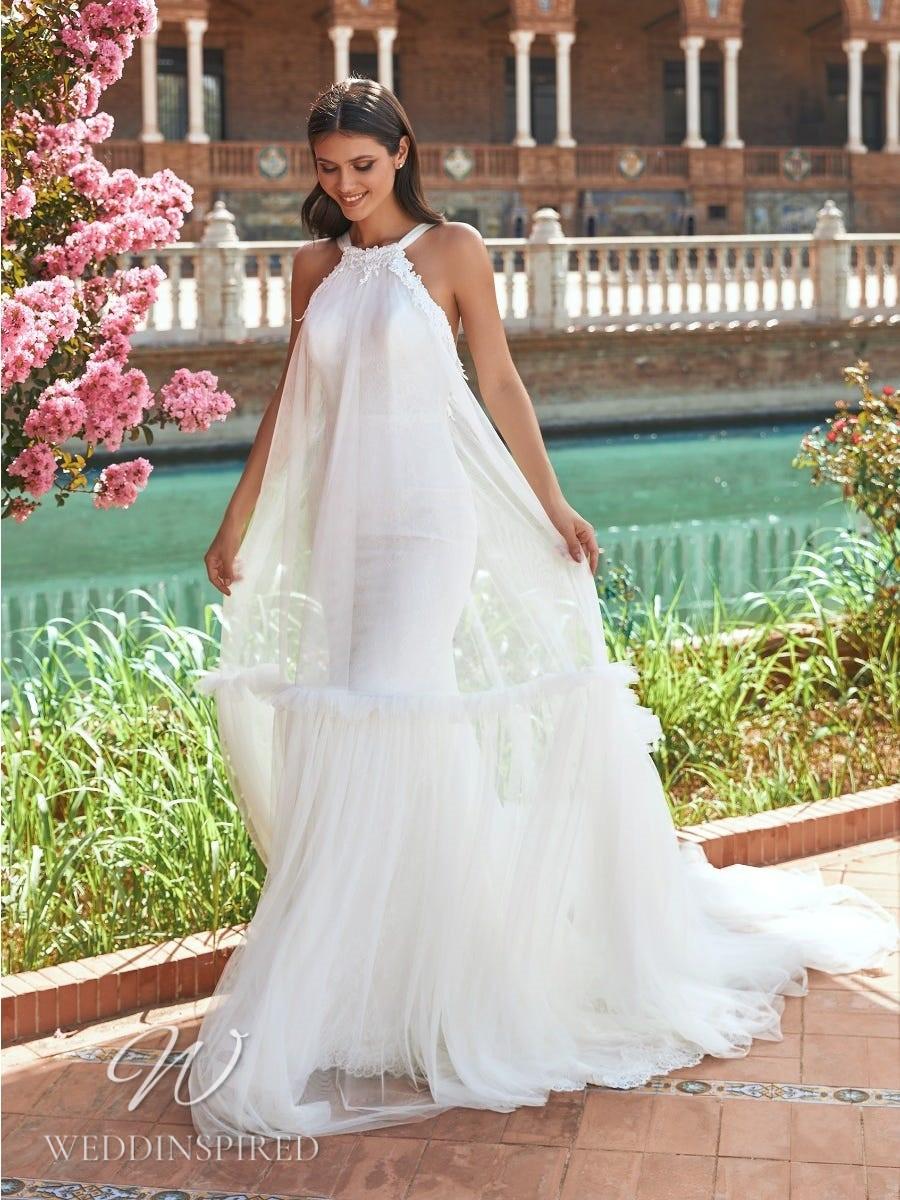 A Marchesa for Pronovias 2022 halterneck tulle sheath wedding dress
