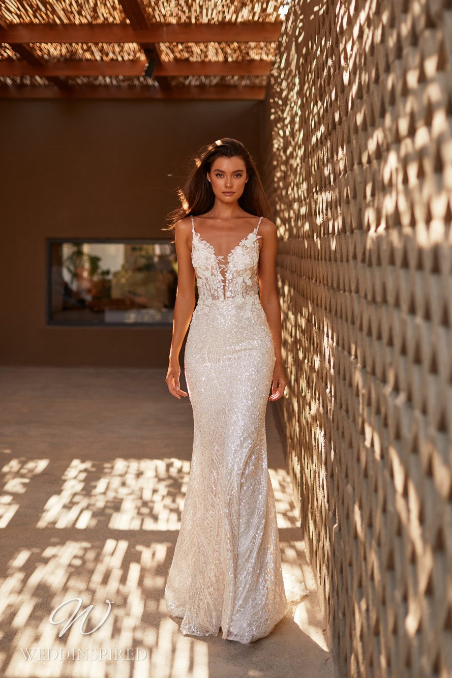 A Milla by Lorenzo Rossi 2021/2022 sparkly ivory mermaid wedding dress with straps and a v neck