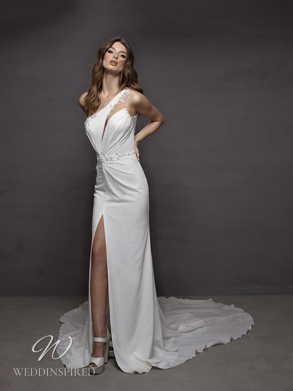 A Riki Dalal 2021 one shoulder sexy satin mermaid wedding dress with a slit