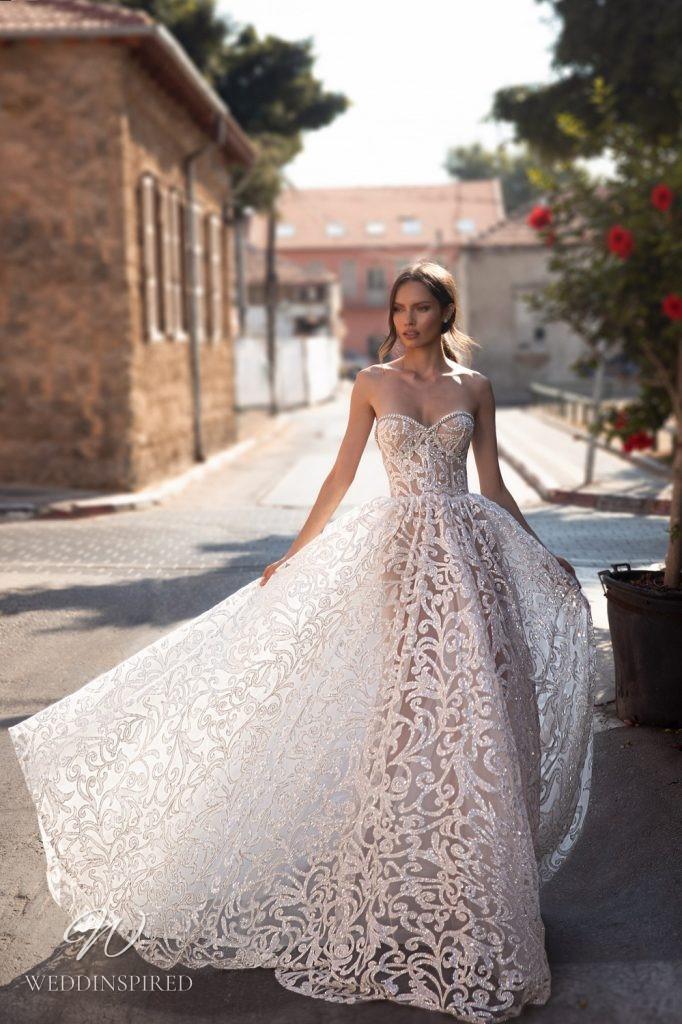An Eden Aharon 2020 floral sparkly strapless lace A-line wedding dress